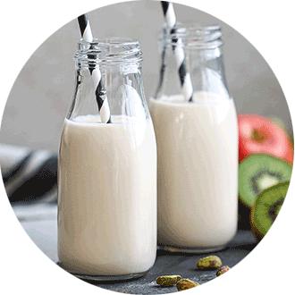 two glasses of non dairy milk