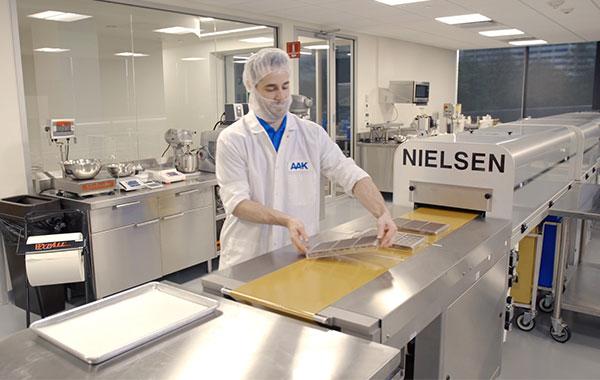 food scientist preparing chocolate in lab